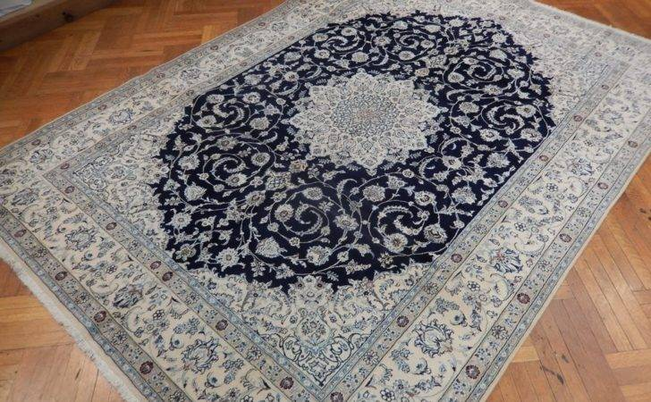 High End Quality Navy Blue Persian Nain Rug Ebay