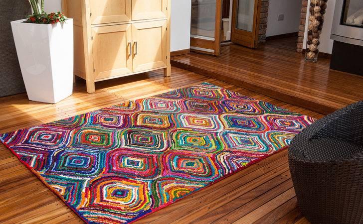 High End Trendy Multi Coloured Rugs Modern Colourfast Carnival Living