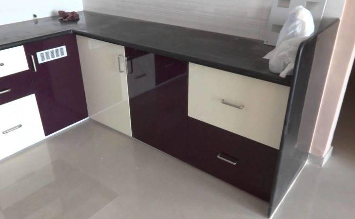 High Gloss Purple Kream Colour Modular Kitchen Bharuch