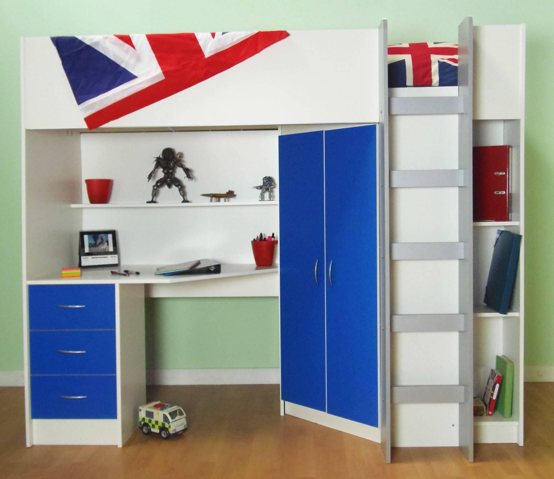 High Sleeper Cabin Bed Desk Wardrobe Also Wood Effects Calder