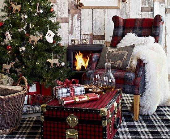Highlands Living Room Checked Carpet Country Christmas