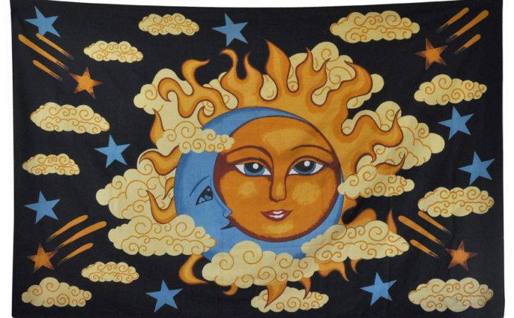 Hippie Sun Moon Amp Clouds Tapestry