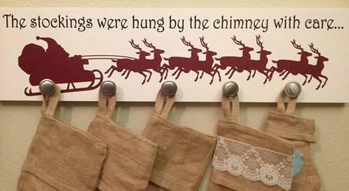 Holder Sign Santa Reindeer Stockings Were