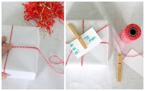 Holiday Gift Wrapping Ideas Red White Baker Twine