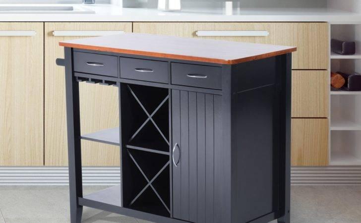 Homcom Kitchen Island Storage Cabinet Wood Top Workstation