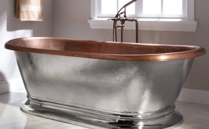 Home Bathroom Kelsey Copper Pedestal Tub Nickel Exterior