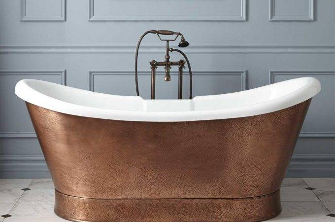 Home Bathroom Rosalind Acrylic Hammered Copper Skirted Tub