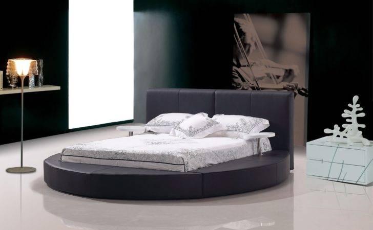 Home Bedroom Modern Atlas Black Leather Round Bed