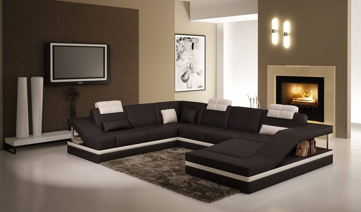 Home Contemporary Black White Leather Sectional Sofa Side