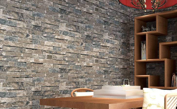 Home Decor Pvc Vinyl Faux Brick Stone Rolls Living