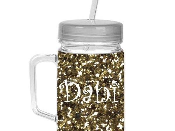 Home Entertaining Gold Glitter Mason Jar