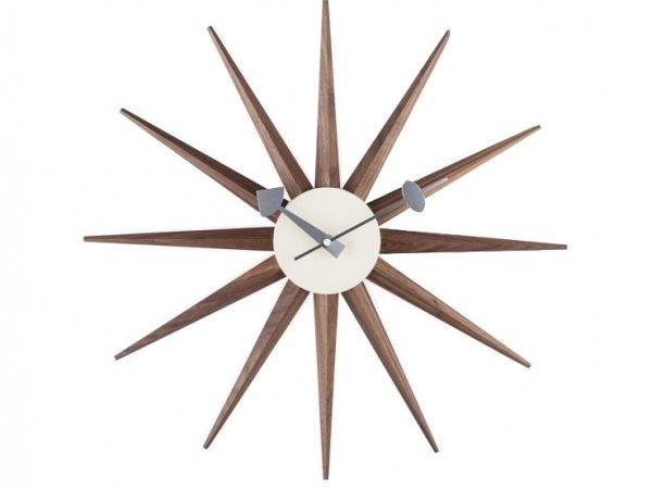 Home George Nelson Type Sunburst Clock Walnut