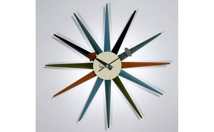 Home George Nelson Wooden Sunburst Clock Multicolor