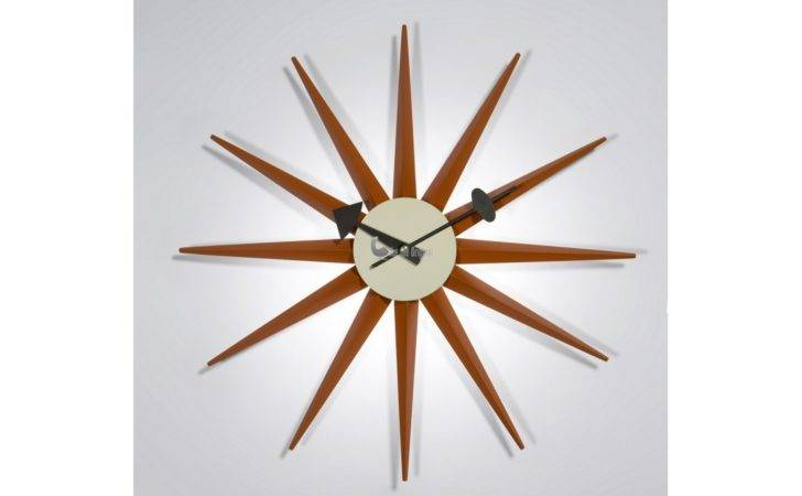 Home George Nelson Wooden Sunburst Clock Orange