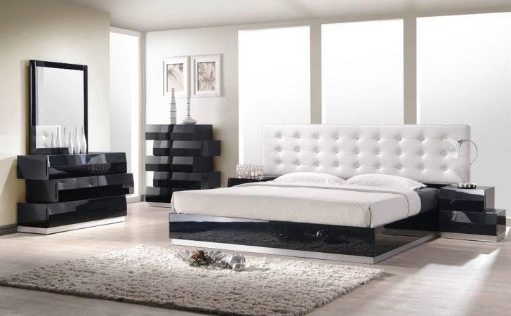 Home Milan King Platform Bed Black Frame White Headboard