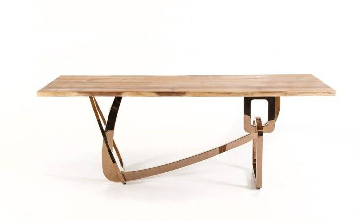 Home Modrest Auburn Modern Live Edge Wood Rosegold Dining Table