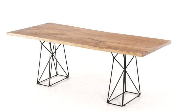 Home Modrest Chestnut Modern Live Edge Wood Dining Table
