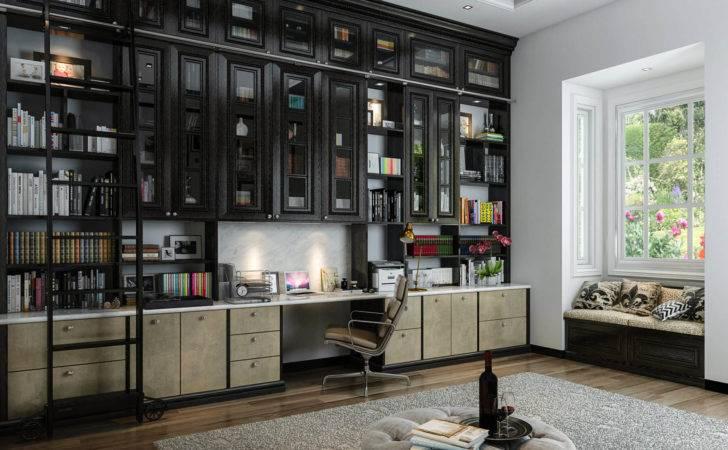 Home Office Custom Built Bookshelves Spanning Entire Wall