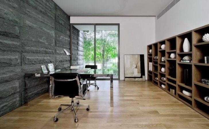 Home Office Interior Stone Wall Design Ideas