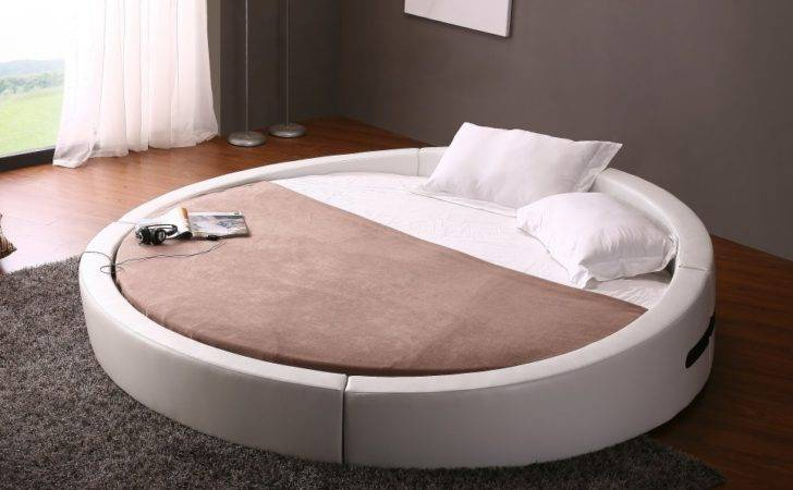 Home Opus Modern White Leather Round Platform Bed
