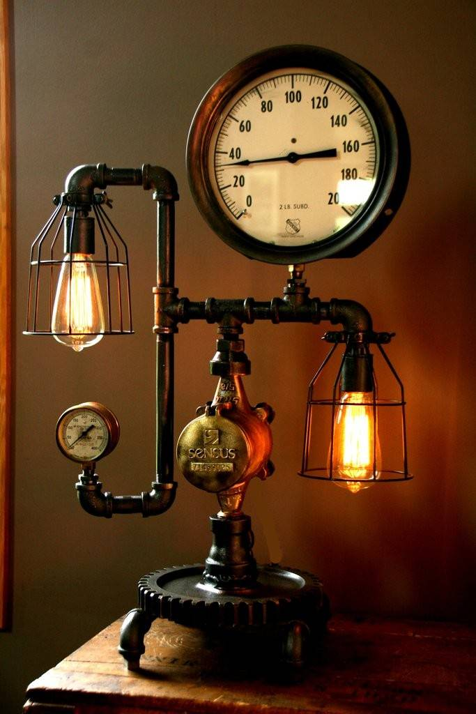 Home Products Machine Age Steam Gauge Lamp Sold