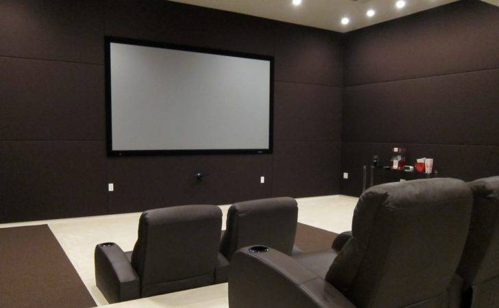 Home Theater Employs Triple Band Tiled Layout Fill Walls