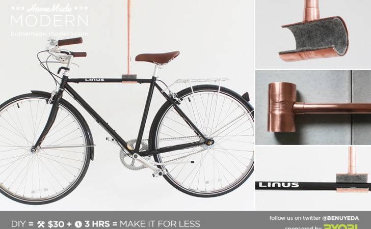 Homemade Modern Diy Copper Bike Rack Postcard