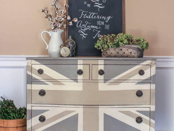Hometalk Painted Union Jack Dresser Autumn Vignette