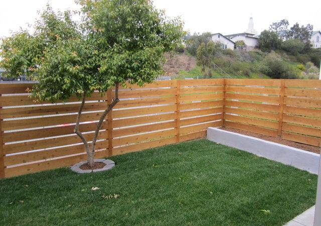 Horizontal Cedar Fence Contemporary Landscape San Diego
