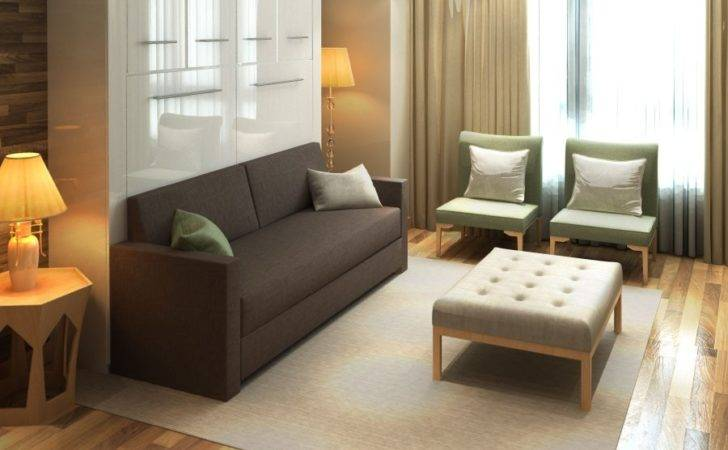 Horizontal Inline Murphy Bed Top Hutch Sofa Closed