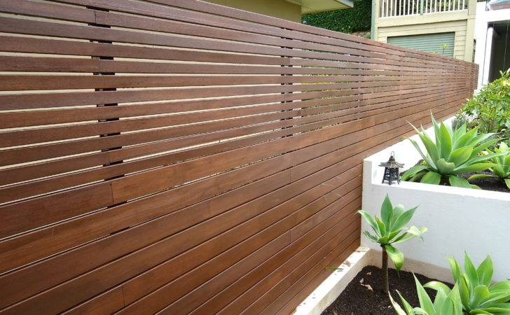 Horizontal Slat Fence Built Into Block Wall Better Quality Fencing