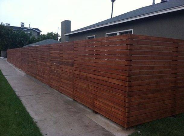 Horizontal Wood Fence Currently Being