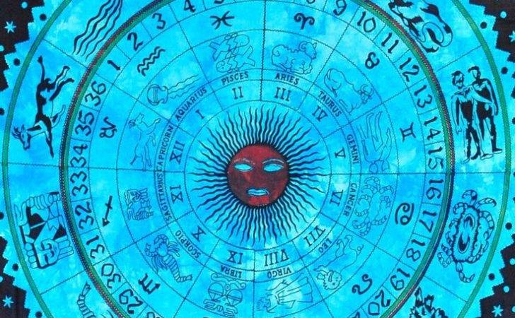 Horoscope Zodiac Tapestry Sun Moon Tapestries Indian Wall