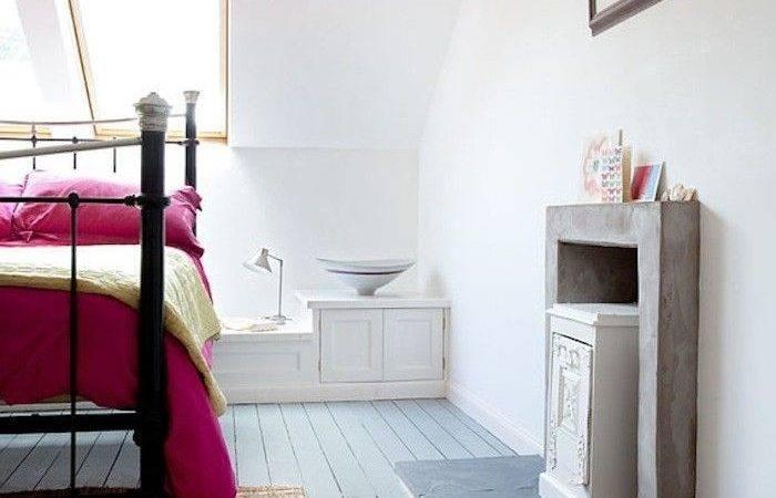Hot Pink Bedspread Bedroom Painted Pale Blue Gray Wood Floors