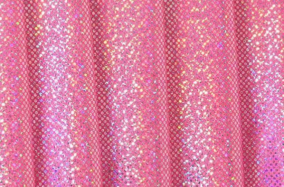 Hot Pink Silver Holographic Dots Stretch Lycra Fabric