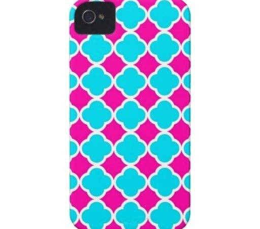 Hot Pink Turquoise Quatrefoil Case Mate Iphone Cases