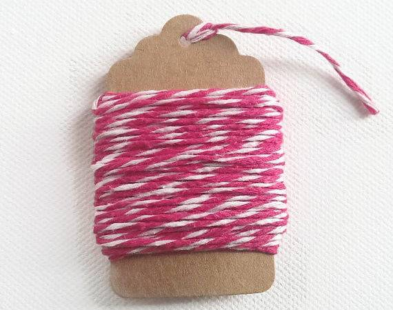 Hot Pink White Baker Twine Cotton Gift Wrapping Meters
