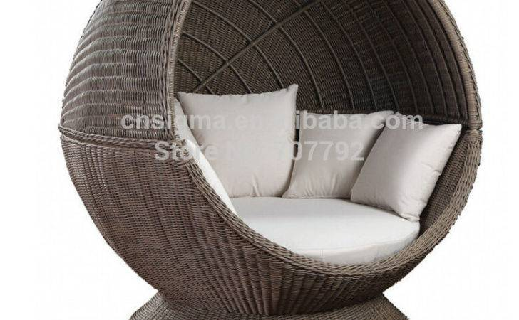 Hot Sale Outdoor Garden Rattan Colonial Sunshade Daybed Cocoon