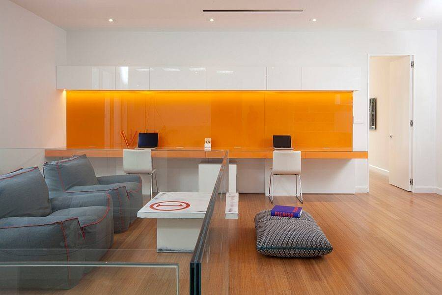 Hot Trend Vibrant Home Offices Bold Orange Brilliance