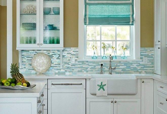 House Kitchen Shimmery Turquoise Tile Backsplash Coastal