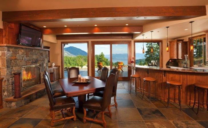 Idaho Mountain Style Home Bar Interior