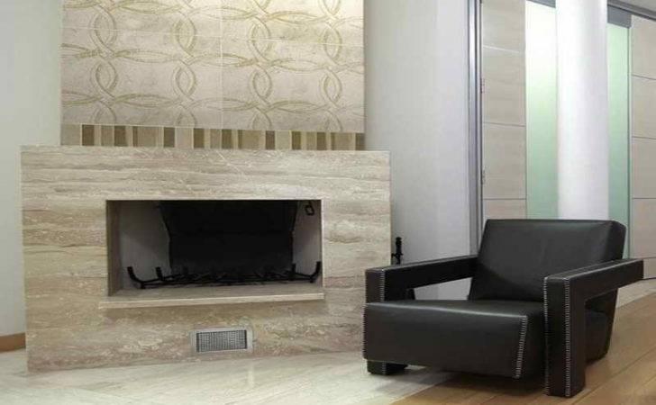 Ideas Fireplace Tile Black Chair