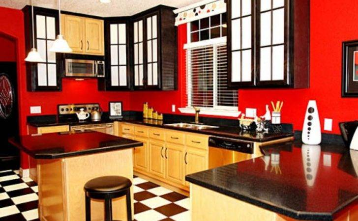 Ideas Red Kitchen Painting Wall