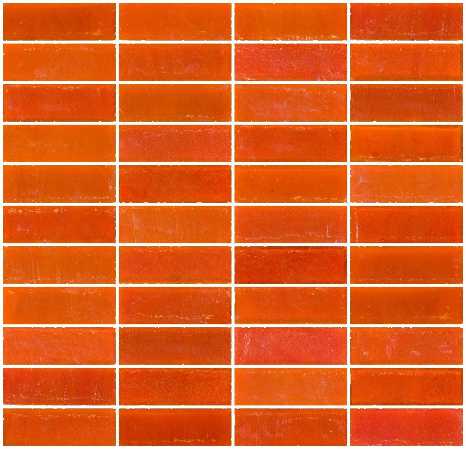 Inch Matte Orange Glass Subway Tile Stacked
