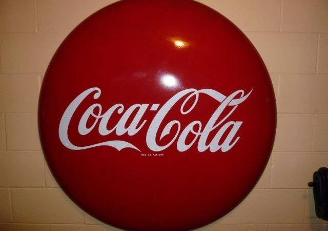 Inch Steel Coca Cola Button Sign Price Williamston
