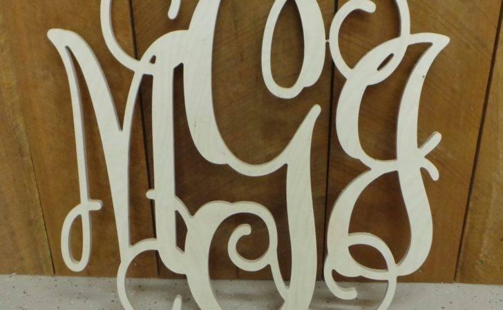 Inch Wooden Monogram Unfinished Vine Script