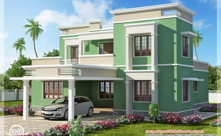 Indian Flat Roof Villa Home Interior Color Design