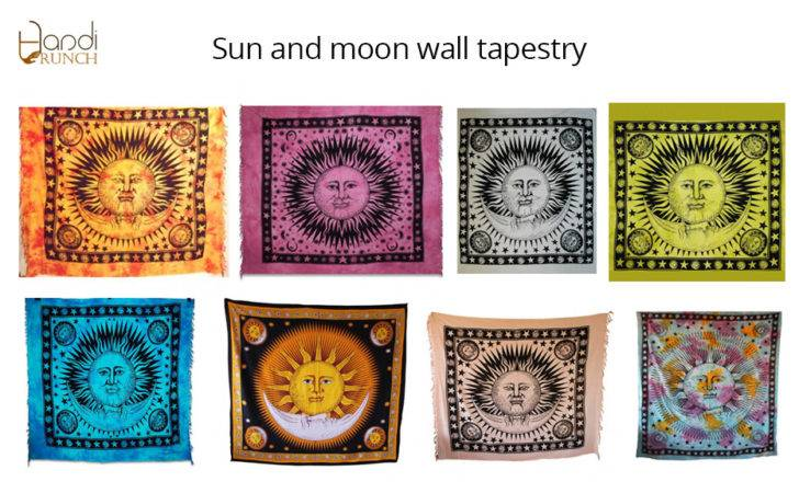 Indian Sun Moon Wall Hanging Tapestry Twt India