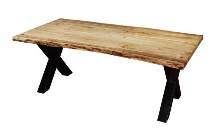 Industrial Cross Legs Acacia Wood Live Edge Dining Table