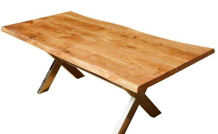 Industrial Cross Legs Solid Wood Live Edge Dining Table